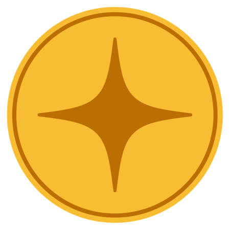 Space Star golden coin icon. Vector style is a gold yellow flat coin symbol.