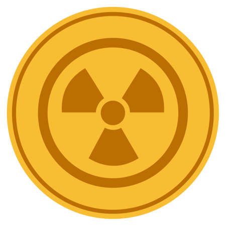 Radioactive golden coin icon. Vector style is a gold yellow flat coin symbol.