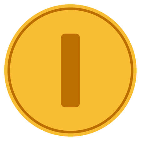 Roman One golden coin icon. Vector style is a gold yellow flat coin symbol.
