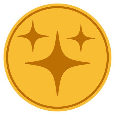 スペーススターゴールデンコインアイコン。ベクトルスタイルは、ゴールドイエローフラットコインシンボルです。