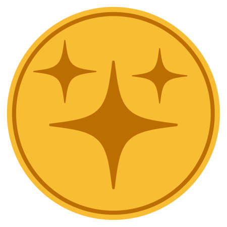 Space Stars golden coin icon. Vector style is a gold yellow flat coin symbol. Ilustração