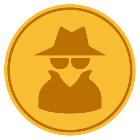 Spy golden coin icon. Vector style is a gold yellow flat coin symbol. Ilustração