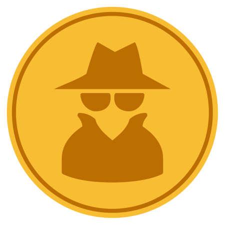 Spy golden coin icon. Vector style is a gold yellow flat coin symbol. Banco de Imagens - 92319950