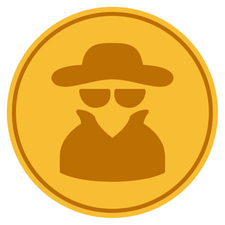 Spy golden coin icon. Vector style is a gold yellow flat coin symbol. Vettoriali