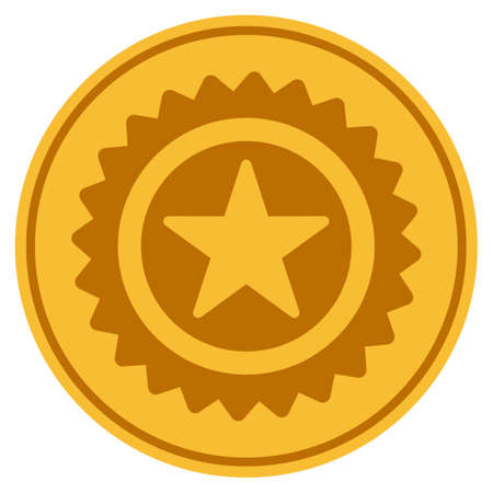Star Stamp golden coin icon. Vector style is a gold yellow flat coin symbol.
