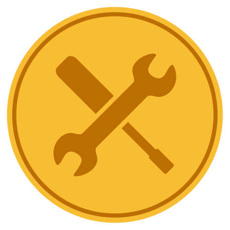 Tools golden coin icon. Vector style is a gold yellow flat coin symbol.