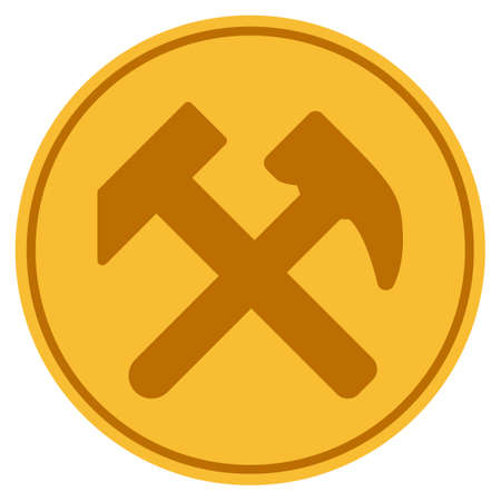Work Hammers golden coin icon. Vector style is a gold yellow flat coin symbol.