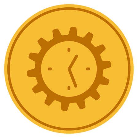 Werktijd Versnelling gouden munt pictogram. Vectorstijl is een goudgeel, vlak muntsymbool.