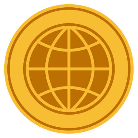 World golden coin icon. Vector style is a gold yellow flat coin symbol.