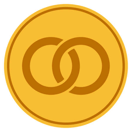 Wedding Rings golden coin icon. Vector style is a gold yellow flat coin symbol. Illustration