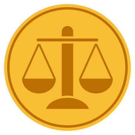 Weight Scales golden coin icon. Vector style is a gold yellow flat coin symbol.