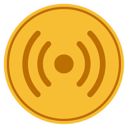 Internet Source golden coin icon. Vector style is a gold yellow flat coin symbol. Illustration