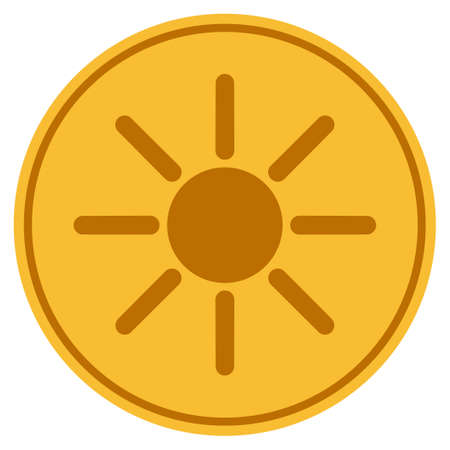 Sun golden coin icon. Vector style is a gold yellow flat coin symbol. Illustration