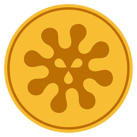 Virus golden coin icon. Vector style is a gold yellow flat coin symbol.