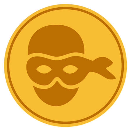 Anonymous Head golden coin icon. Raster style is a gold yellow flat coin symbol. 版權商用圖片