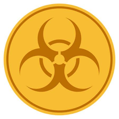 バイオハザードゴールデンコインアイコン。ラスタースタイルは、ゴールドイエローフラットコインシンボルです。