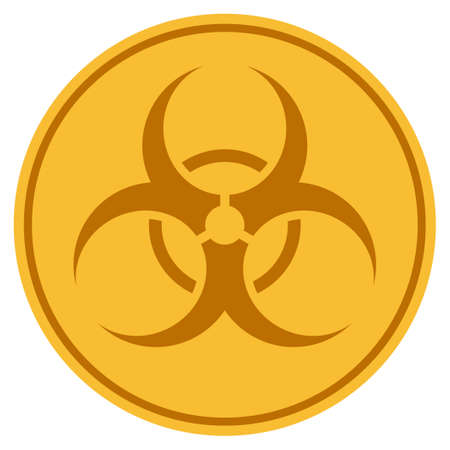Biohazard golden coin icon. Raster style is a gold yellow flat coin symbol. Archivio Fotografico
