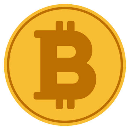 Bitcoin golden coin icon. Raster style is a gold yellow flat coin symbol.