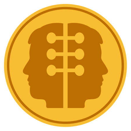 Dual Head Interface golden coin icon. Raster style is a gold yellow flat coin symbol.