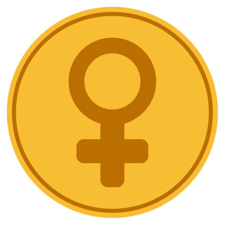 Female Symbol golden coin icon. Raster style is a gold yellow flat coin symbol. Stock Photo
