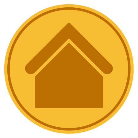 Home Building golden coin icon. Raster style is a gold yellow flat coin symbol. Stock fotó