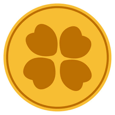 Four-Leafed Clover golden coin icon. Raster style is a gold yellow flat coin symbol.
