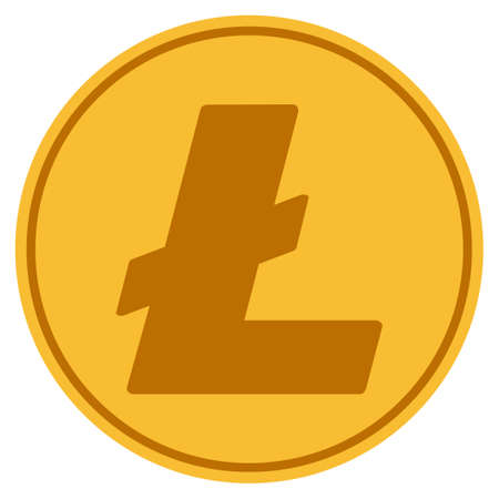 Litecoin golden coin icon. Raster style is a gold yellow flat coin symbol. Фото со стока