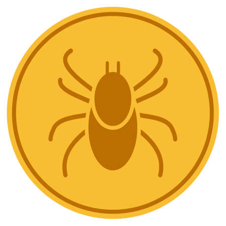 Mite golden coin icon. Raster style is a gold yellow flat coin symbol.