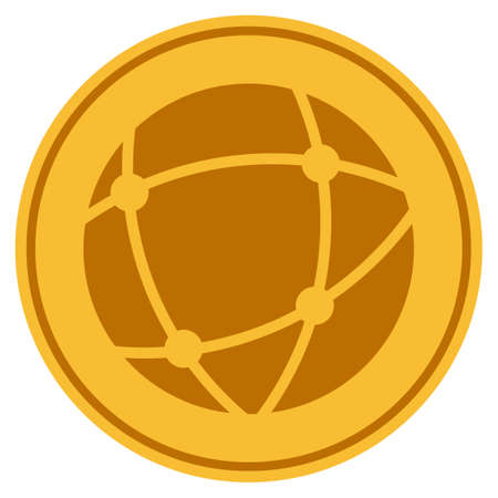 Network golden coin icon. Raster style is a gold yellow flat coin symbol.