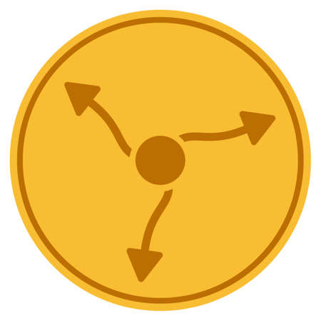 Neutrino Curve Arrows golden coin icon. Raster style is a gold yellow flat coin symbol.