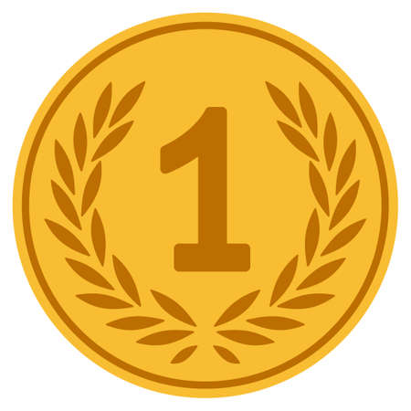 One golden coin icon. Raster style is a gold yellow flat coin symbol.