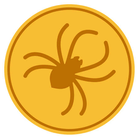 Parasite Spider golden coin icon. Raster style is a gold yellow flat coin symbol.