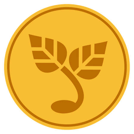 Sprout golden coin icon. Raster style is a gold yellow flat coin symbol. Stock Photo