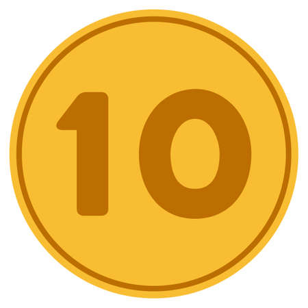 Ten golden coin icon. Raster style is a gold yellow flat coin symbol.