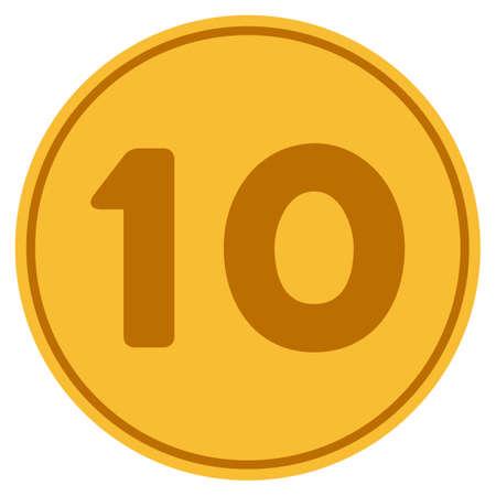 Cone de dez moedas de ouro. Estilo raster é um símbolo de moeda plana ouro amarelo. Foto de archivo - 92343536