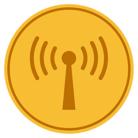 Wi-Fi Station golden coin icon. Raster style is a gold yellow flat coin symbol.