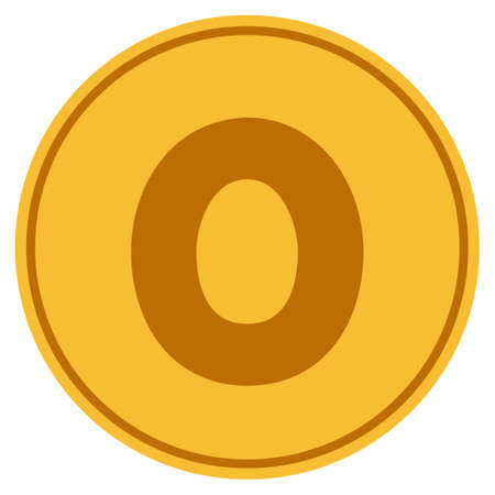 Zero golden coin icon. Raster style is a gold yellow flat coin symbol.