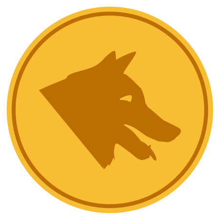 Dog golden coin icon. Raster style is a gold yellow flat coin symbol.