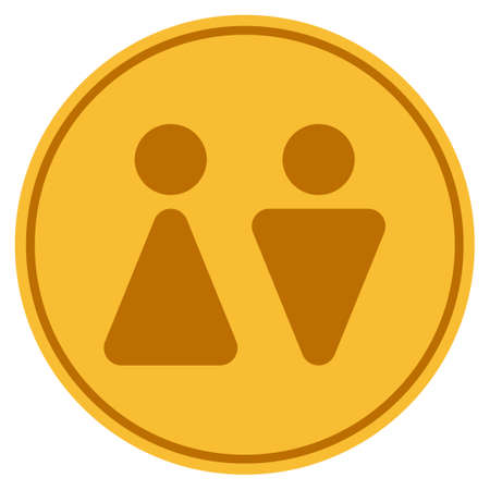 WC Persons golden coin icon. Raster style is a gold yellow flat coin symbol.