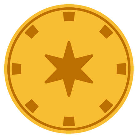 6-Finger Star golden casino chip pictograph. Vector style is a gold yellow flat gamble token item.
