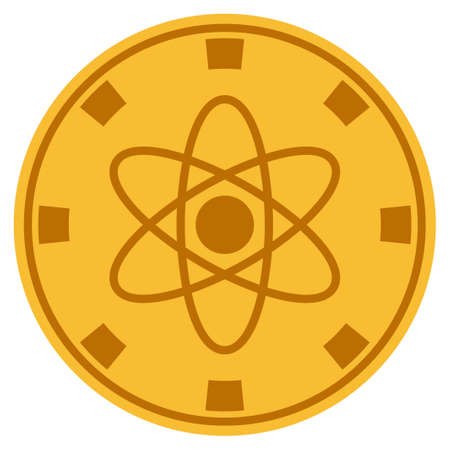 Atom golden casino chip icon. Vector style is a gold yellow flat gambling token item. Illustration