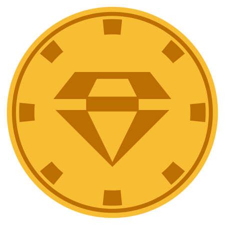 화려한 황금 카지노 칩 아이콘입니다. 벡터 스타일은 골드 옐로우 평면 도박 토큰 심볼입니다.