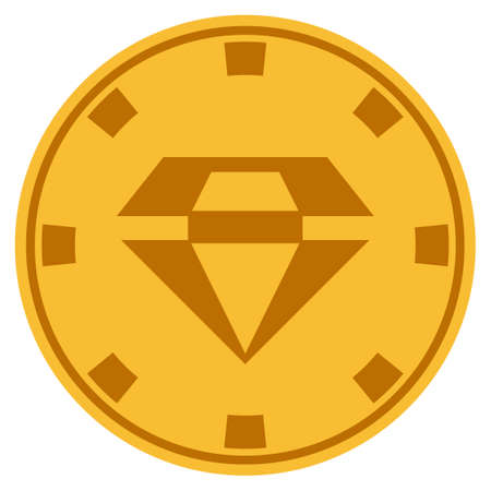 Brilliant golden casino chip icon. Vector style is a gold yellow flat gamble token symbol.