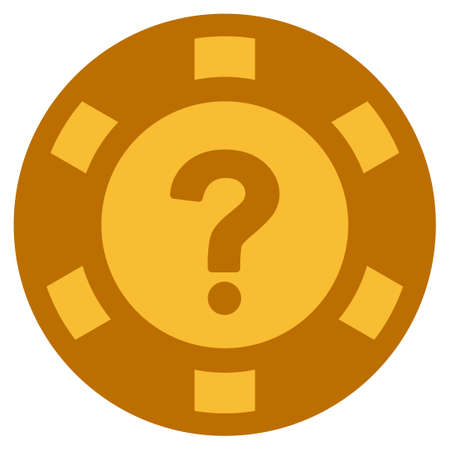 Question golden casino chip pictograph. Vector style is a gold yellow flat gambling token item. Illustration
