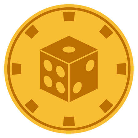 Dice golden casino chip icon. Vector style is a gold yellow flat gamble token symbol. Ilustrace