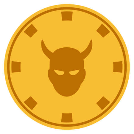 Devil golden casino chip icon. Vector style is a gold yellow flat gambling token item.