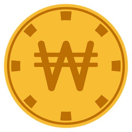 Koreaanse won gouden casino-chippictogram. Vectorstijl is een goudgeel plat gokfichesymbool. Vector Illustratie