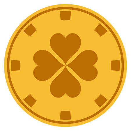 Lucky Clover golden casino chip pictogram. Vector style is a gold yellow flat gamble token item.
