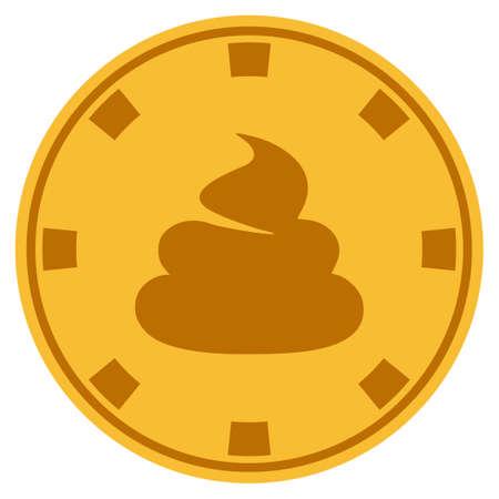 Shit gouden casino chip pictogram. Vectorstijl is een goudgeel plat gokfiche.