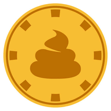Shit golden casino chip pictogram. Vector style is a gold yellow flat gambling token item. Illustration